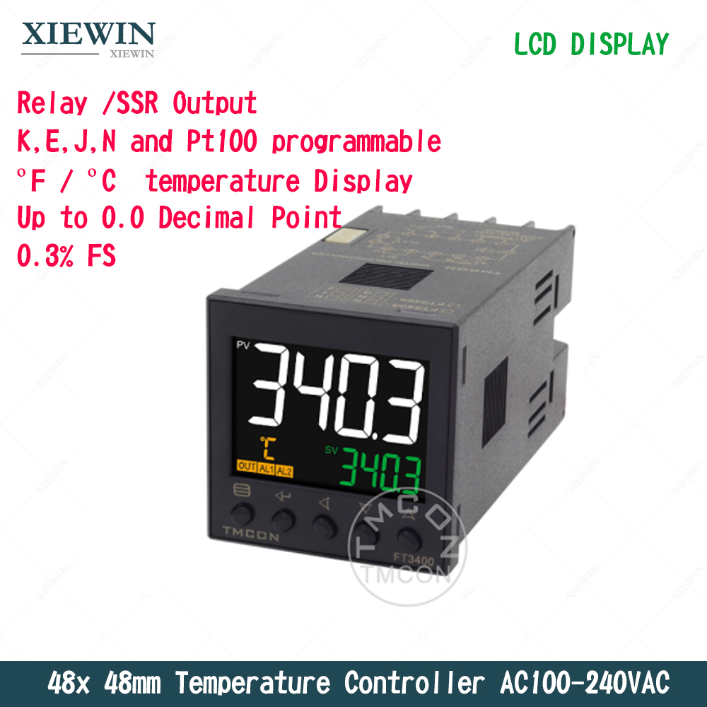 48mm Relay SSR Output K J Pt100 Input  PID  Temperature Controller  AC100-240VAC  0.3  Accuracy  Thermostat Controller