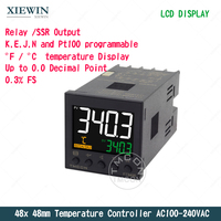 48mm Relay SSR Output K J Pt100 Input PID temperature Controller AC100 240VAC 0.3 Accuracy thermostat Controller