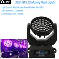 LED Wash Zoom 36X15W RGBWA 5в1 Moving Head Light AC90-240V  50-60Гц ЖК-дисплей DMX512 для клубного диско-бара DJ stage light