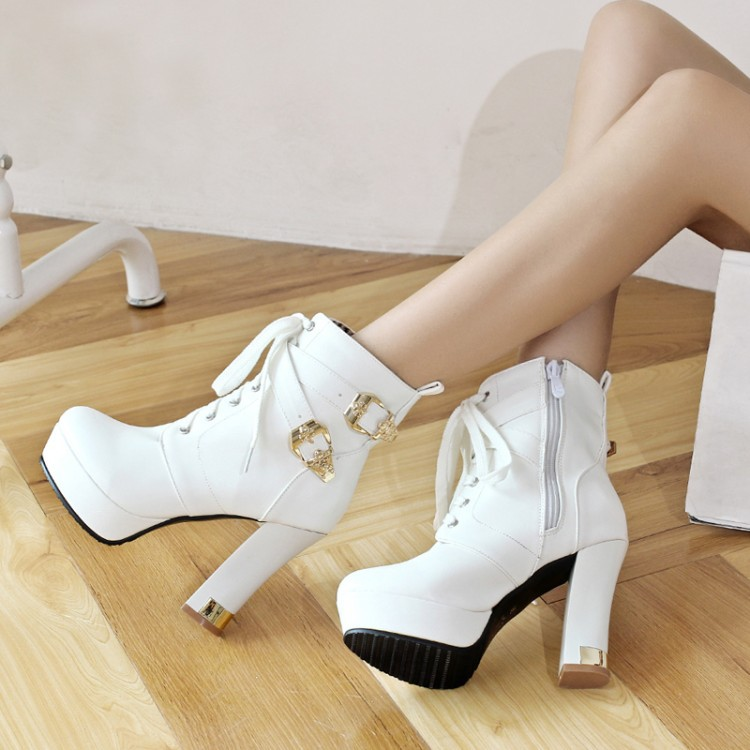 British Style New Autumn And Winter Women Fashion High Heels Ankle Boots Thick Lace up Booties