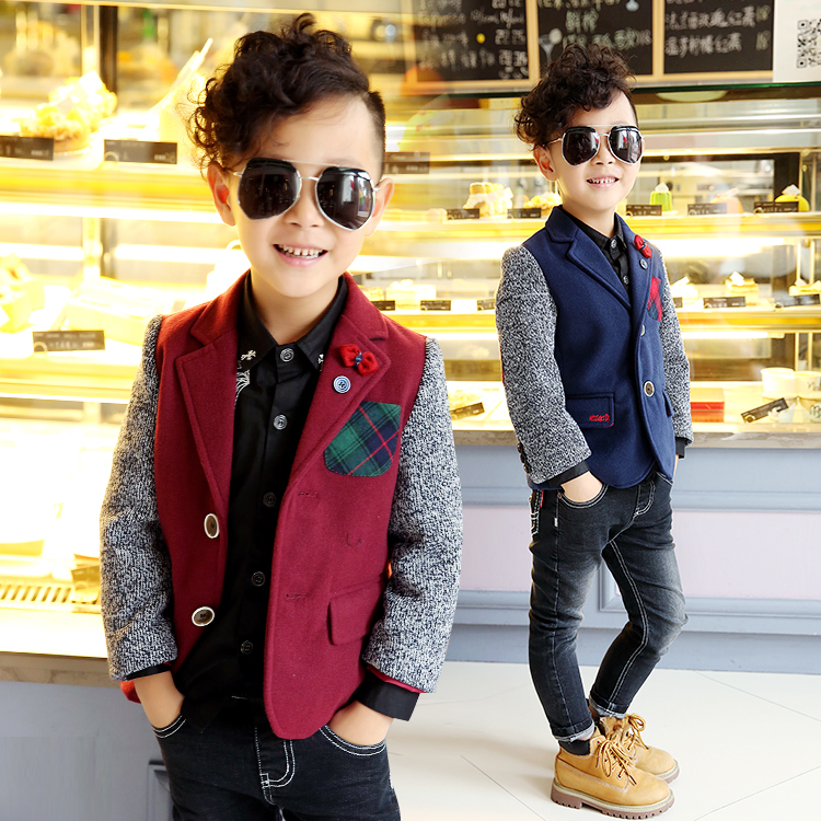 2015 winter male child short design wool coat boys children England Style outerwear jacket