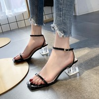 51f1af162d LCIZRONG Summer Transparent High Heel Clear Sandals For Women Thick Heel  Ladies Sandals Fashion Square Toe