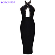 off the should nude black sexy deep Halter evening party dress women knee length beading bodycon bandage dresses drop shipping