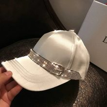 01902-26-38659 2019 new Satin sheen Flash drill webbing ribbon visors cap MEN women leisure baseball hat(China)
