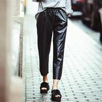 DoreenBow Nuova Moda Autunno Inverno PU Pantaloni In Pelle da Donna Colore Nero Pantaloni Femminili Elastici Sottili Patchwork Pantaloni Larghi