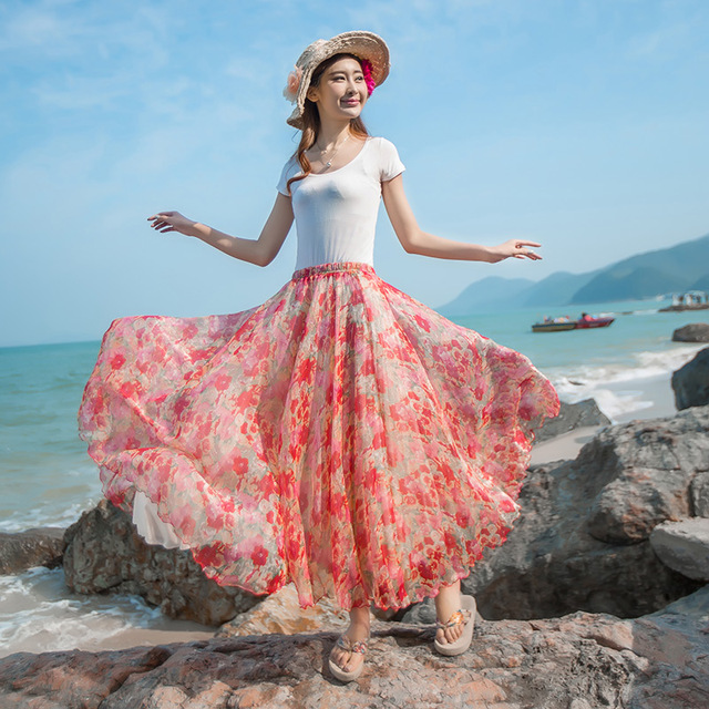 5cf73dfb36429 2017 New Arrival Fashion Casual Bohemian Billowing Skirts Long Summer Women  Chiffon Maxi Skirt Beach Plus Size Full Length Saia