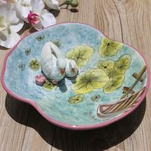 ceramic Creative cute swan fruit Candy Storage dish Dessert Snack Salad plate home decor wedding decoration handicraft figurine