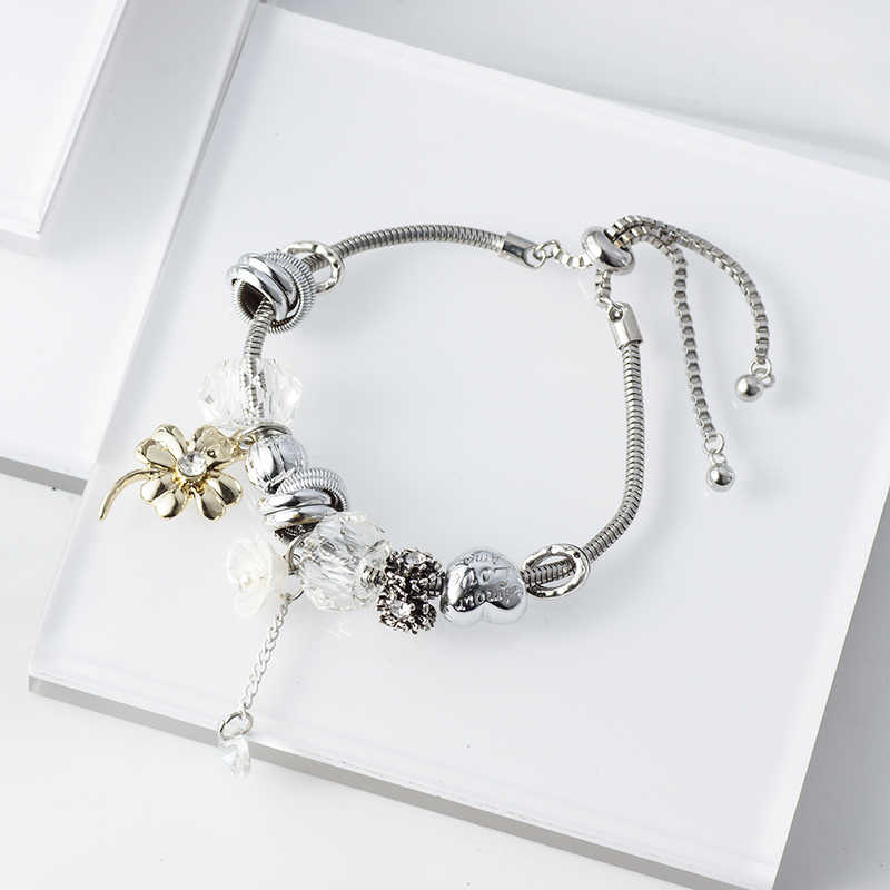 Trendy Beads Charm Bracelet Stainless Steel Jewelry Flower Crystal Bracelets Gift for Women Lady Girl Wedding Party