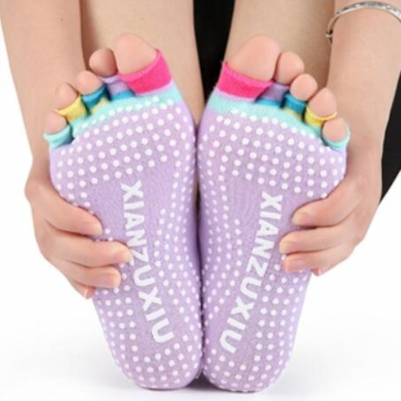 Women Sports Colorful Yoga Socks Hot Fitness And Pilates Cotton Socks Rainbow Workout Anti Slip Toe Socks Breathable 8Colors