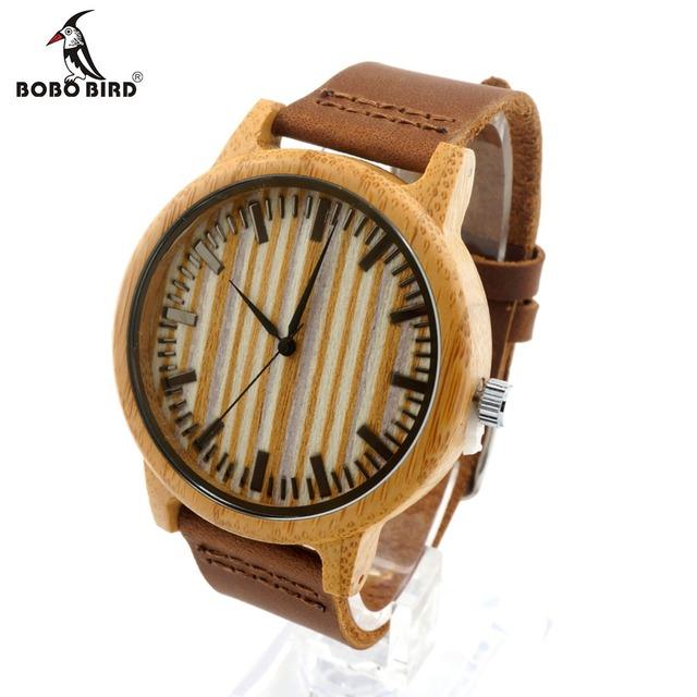 Bobo bird a20 bambú madera reloj hombre vestido de relojes con correa de cuero de la vaca de cuarzo analógico unisex reloj de madera para unisex