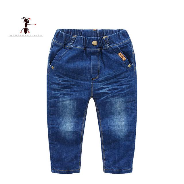 2017 Nueva Llegada de la Felpa Denim Elástico Ocasional Pantalones de Invierno Pantalones Vaqueros Chicos Calientes de la Marca Famosa Kung Fu Hormiga 2588
