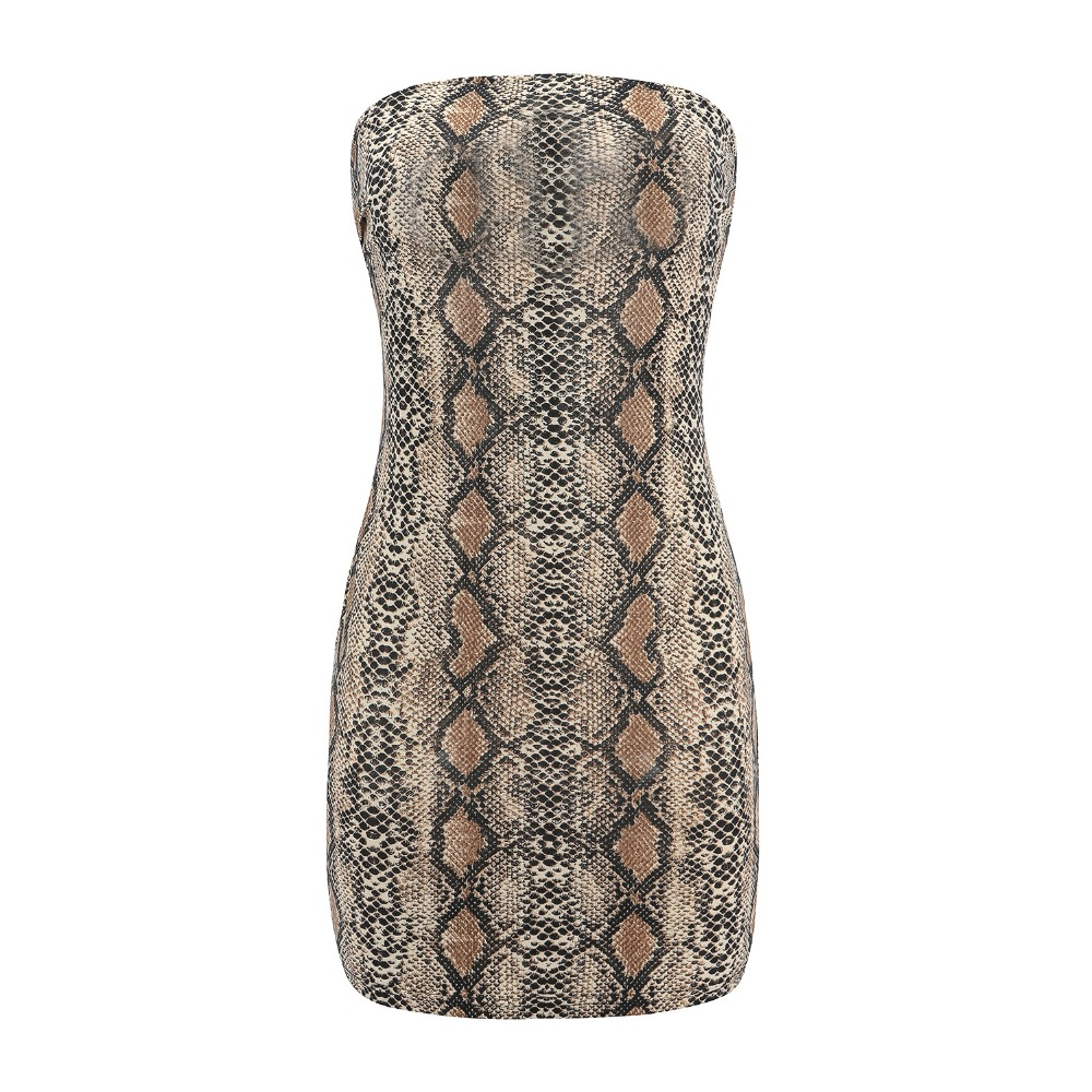 Self-Conscious 2019 New Snake Print Dress Summer Women Strapless Club Sexy Dress 81222 Ladies Bodycon Knitted Mini Dress Robe Femme Dresses