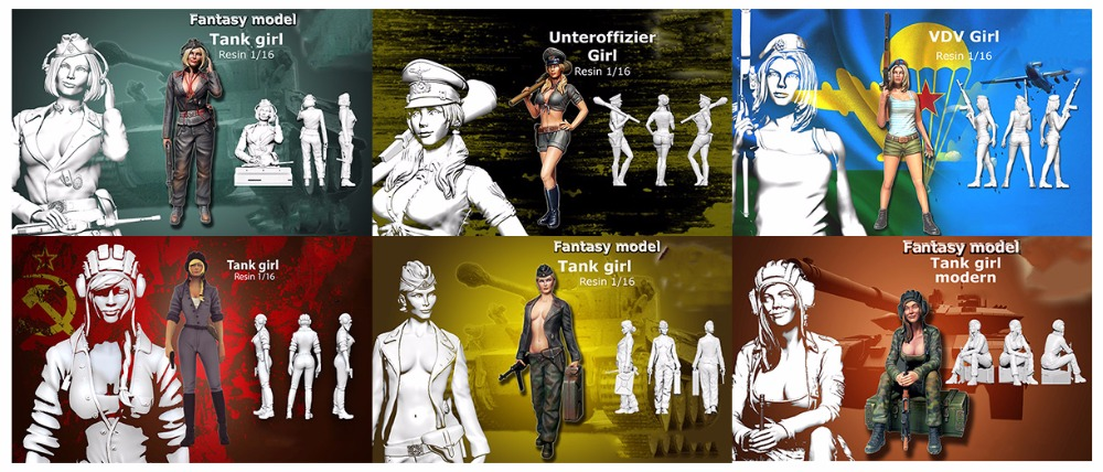 Assembly Unpainted  Scale 1/16 120mm modern woman soldiers include 6  Historical toy Resin Model Miniature Kit resin assembly kits 1 8 ney archeress 1 8 260mm unpainted kit resin model free shipping