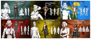 Assembly Unpainted  Scale 1/16 120mm modern woman soldiers include 6  Historical toy Resin Model Miniature Kit