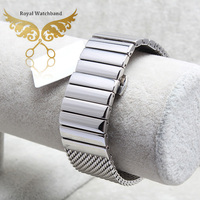 20mm 22mm 24mm New High Quality Silver Shark Mesh Brushed Stainless Steel Mesh Men's Wrist Watch Band