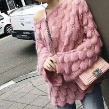 yellow sweater Pattern Korean Mohair Knitting Unlined Upper Woman Thin Hollow Out white sweater Round Neck Long Sleeve pink top