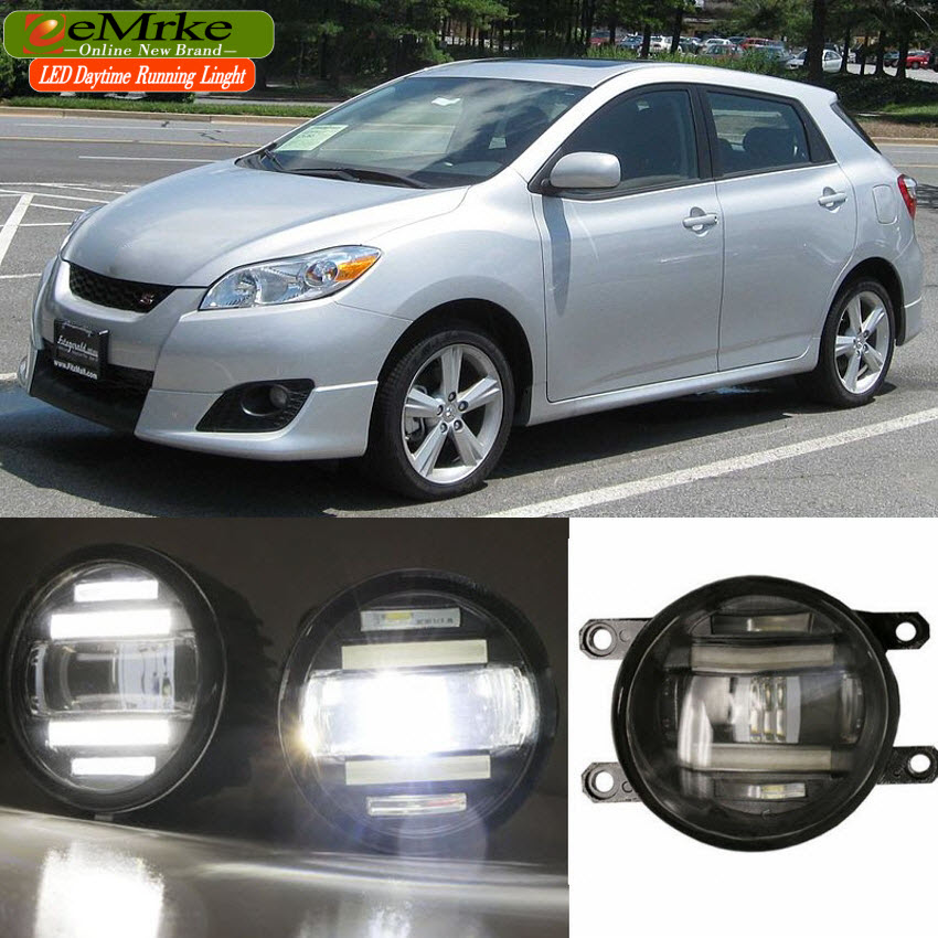 eeMrke Xenon White High Power 2in1 LED DRL Projector Fog Lamp With Lens For Toyota Matrix E140 2009-2014 eemrke xenon white high power 2 in 1 led drl projector fog lamp with lens daytime running lights for renault kangoo 2 2008 2015