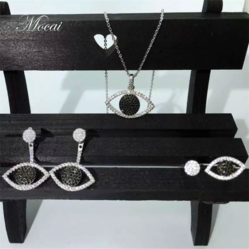 Fashion Eye Jewelry Sets High Quality 18K Gold Plated Black White Eyes Necklace Earrings font b