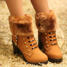 Dropshipping 2019 new Lady casual Fur leather martin buckle boots rivet winter warm boot women fashion 8cm high heel boots UU-53(China)