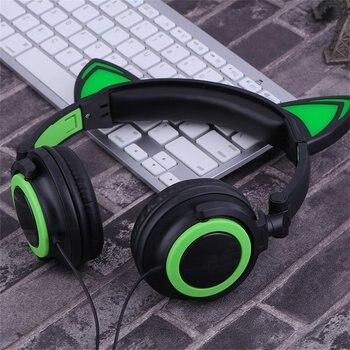 Cat's Ears Headphones Folding Laptop Computer Earphone Headset With LED Light