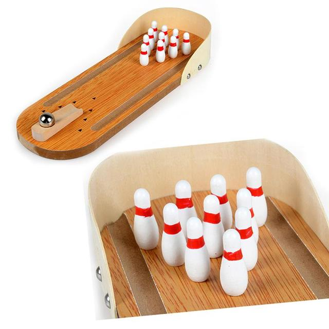 Mini Bowling Games Wooden Miniature Bowling Ball Set for Kids Adults Party Fun 1