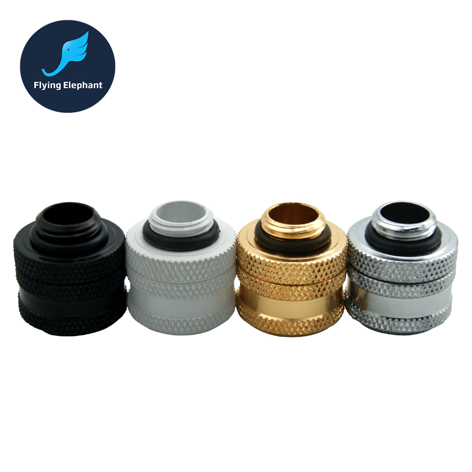 OD 14mm Acrylic Hard Tube Fitting Hand Twist 4 Laps For PC Computer Water Cooling Silver / Black / Gold / White