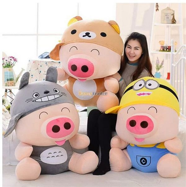 Fancytrader 37'' / 95cm Super Lovely Soft Plush Stuffed Giant McDull Pig Toy, 3 Cartoon Models Available, Free Shipping FT50732 fancytrader 39 100cm giant plush soft lovely stuffed cartoon monkey toy cute birthday gift free shipping ft50006