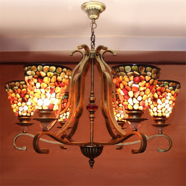 Colour Shape Tiffany Chandelier European Vintage Gl Suspension Light Bar Cafe Hanging Lamp Penntes Re 6