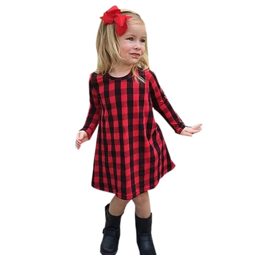 Girl Dress Toddler Infant Kids Baby Girl Plaid Print Dress Outfits Clothes Dress F9 palm print cami dress