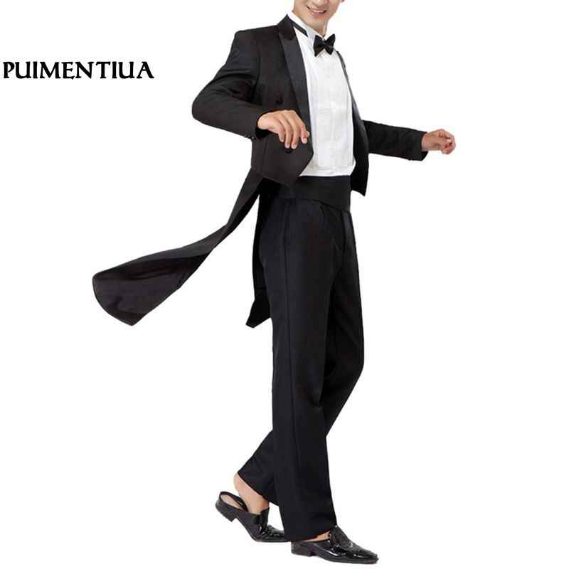 Puimentiua Black Thin Dress suit Men Male Tuxedo Suits Business Formal Blazer Office Pants Set Cosplay 2 pieces costume homme