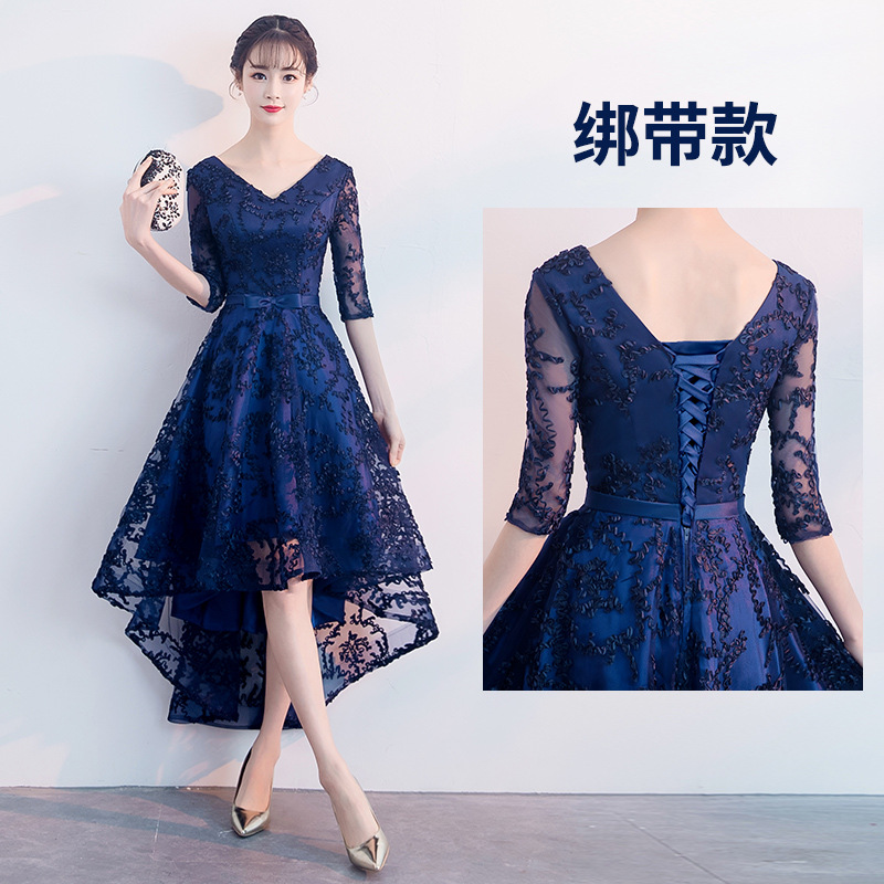 Sexy Slim Lace Appliques Asymmetric Hems Lace Up Improved Cheongsam Chinese Evening Dress Vestidos Size S-XXL