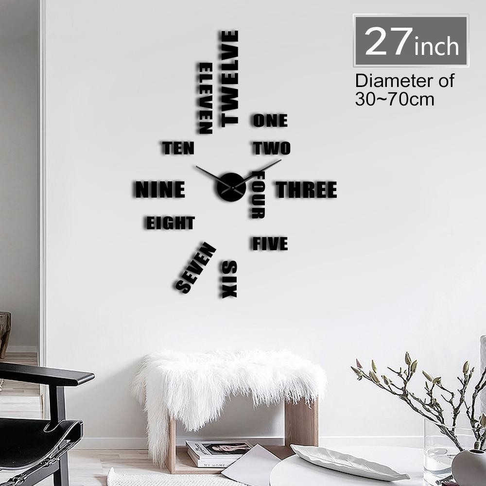 DIY English Letter Number Wall Clock Modern Design 3D Sticker Frameless DIY Giant Wall Clock Simple Quiet Sweep Wall Watch Decor