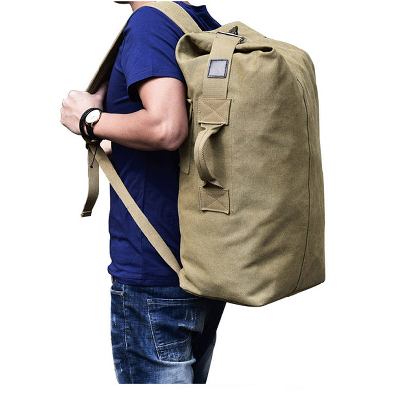 2018 Multifunctional Military Tactical Canvas Backpack Men Male Big Army  Bucket Bag Outdoor Sports Duffle Bag 671b1adc23461