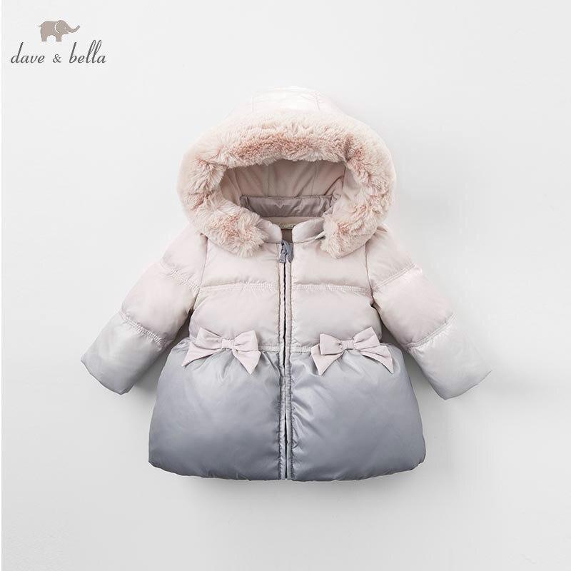 DB6317 dave bella hiver infantile bébé filles vers le bas veste enfants duvet de canard blanc rembourrage manteau à capuche pour enfants survêtement