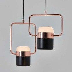 Neue postmodernen led anhänger lichter überzogene rose gold schmiedeeisen nordic einfache suspension lampe esszimmer schlafzimmer hanglamp licht