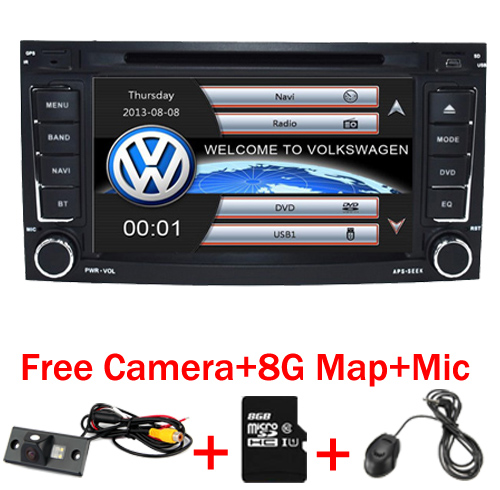 imágenes para 2 din 7 pulgadas de DVD Del Coche de VW Touareg Multivan T5 (2002-2010) GPS 3G Bluetooth Radio RDS USB volante Canbus Libre 8G MAPA de La Cámara