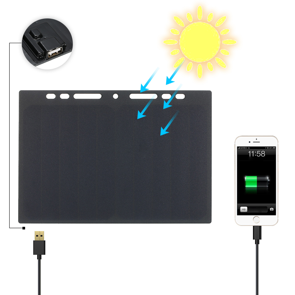 Solar Panel 10W High Power Mini Portable Monocrystalline Silicon Solar Panel Charger Solar Cell USB Port Camping Travel Outdoor