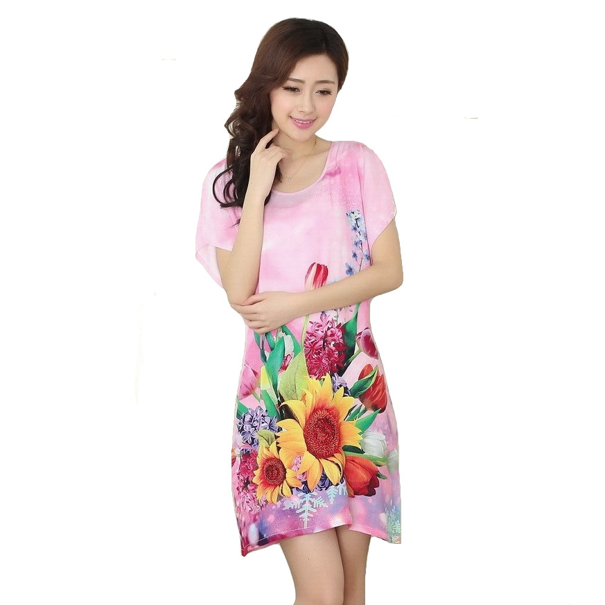 High Fashion Women Cotton Robe Bath Gown Hot Sale Printed Nightgown Pink NEW Ladies Nightwear Sleep Tops Pijama Mujer S0125-B