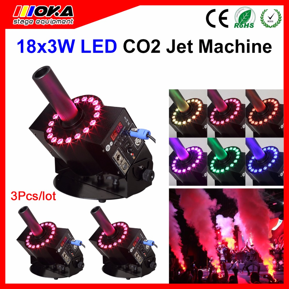 3Pcs/lot LED Smoke Stage Effect Co2 Jets Machine Powerful Co2 Cannon Blaster Colorful Disco lighting effects with rgb led lamp3Pcs/lot LED Smoke Stage Effect Co2 Jets Machine Powerful Co2 Cannon Blaster Colorful Disco lighting effects with rgb led lamp