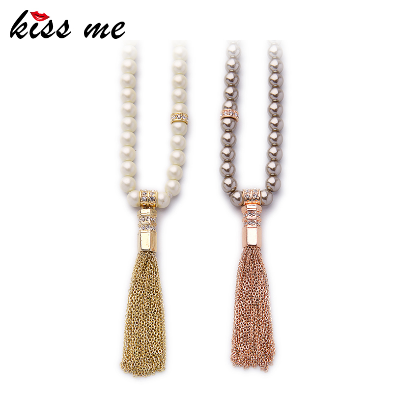 KISS ME Brand Long Beads Chain font b Necklaces b font font b b font font