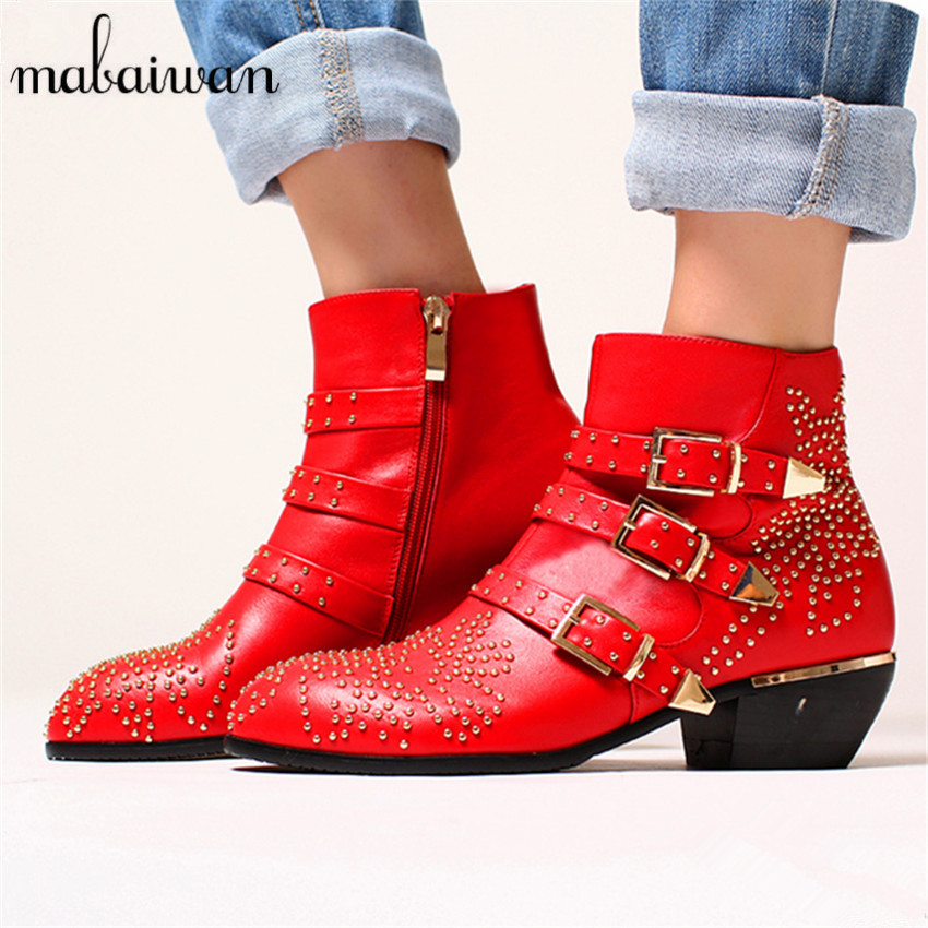 Mabaiwan Rivets Studded Women Booties 2017 New Black Red Ladies Shoes Women Autumn Winter Ankle Boots Genuine Leather Rain Botas mabaiwan autumn women ankle boots genuine leather side zipper flat booties botas militares martin boots winter botines mujer