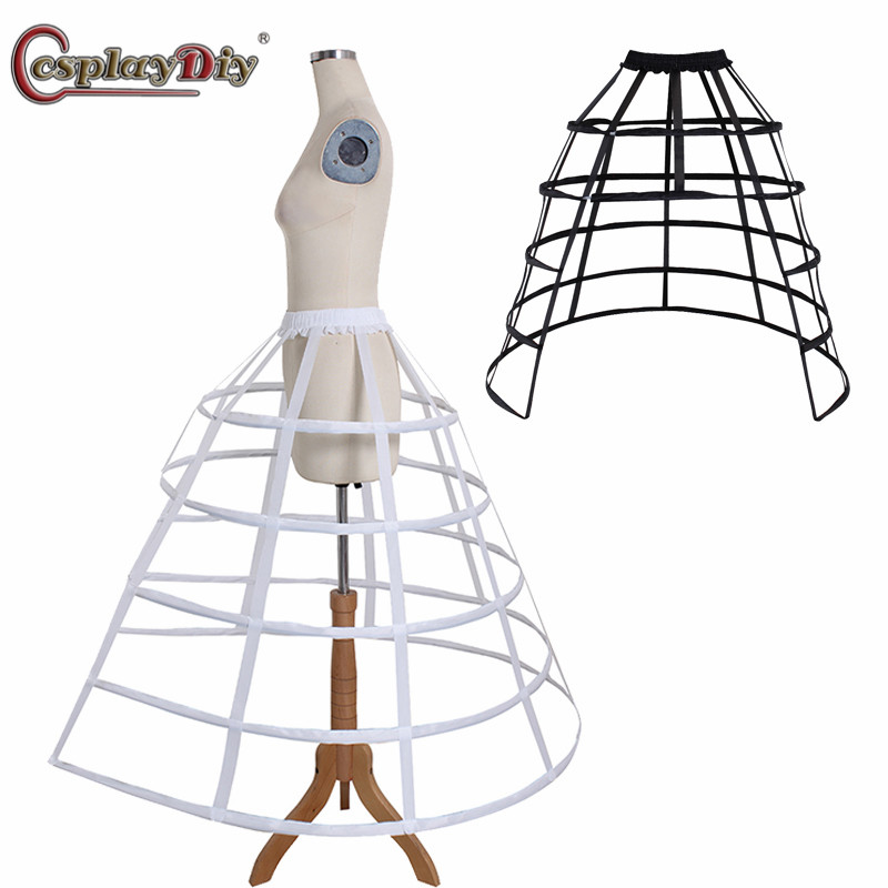 CosplayDiy Cage Hoop Skirt Petticoat Dress Pannier 5 Hoops Bustle Cage Crinoline Fishbone Petticoat Underskirt Party Ball Gown