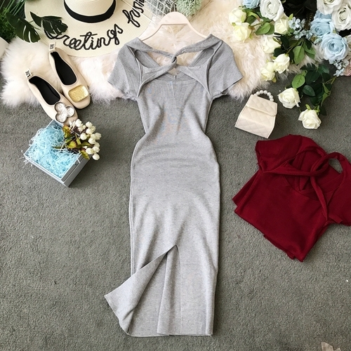 Women Knitted Dress Solid...