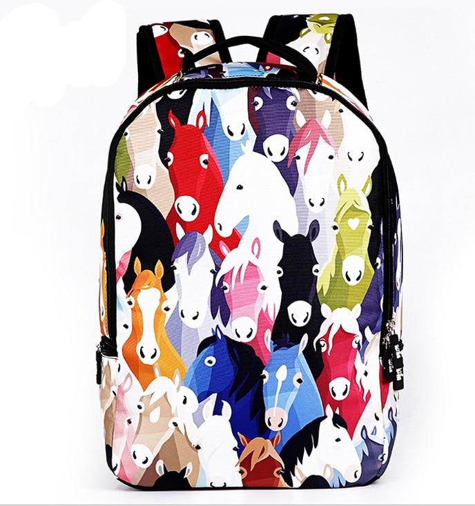 3D Animal Backpacks Men's Travel Backpack Horse School Bag for Teenagers Men Children Bagpack College Student Bookbag forudesigns 3d animal printing backpacks for men crazy horse dinosaur school backpack for teenager boys man kids travel bagpack