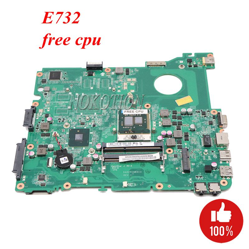 NOKOTION MBNCA06001 Laptop Motherboard For ACER EMachines E732 Mainboard DA0ZRCMB6C0 HM55 DDR3 Free Cpu
