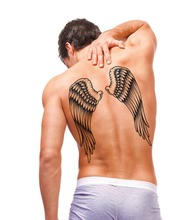 Large Sexy Tattoo 3D Temporary Body Arm Stickers Black Removable Waterproof Angle Wing Black Tattoos