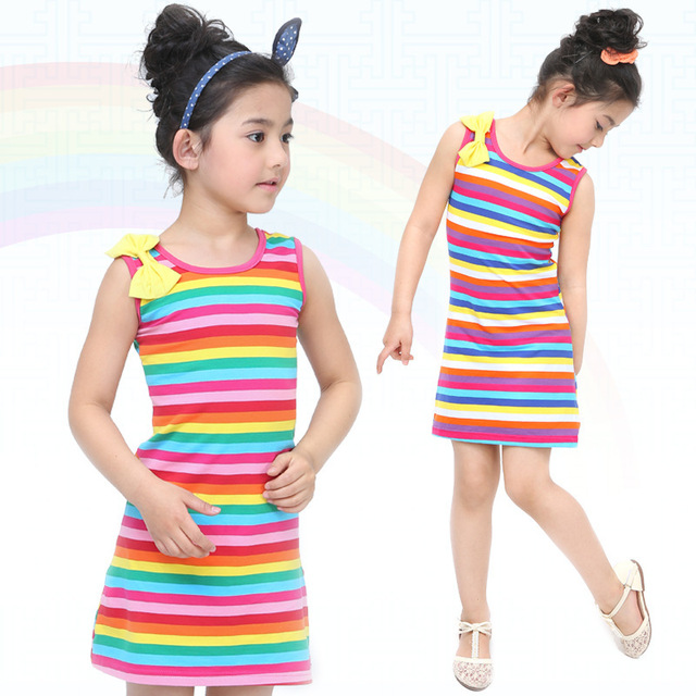 Retail hot sale 2-13 age girls fashion rainbow colorful striped princes dress kids child casual bow tank vestidos clothing 125D