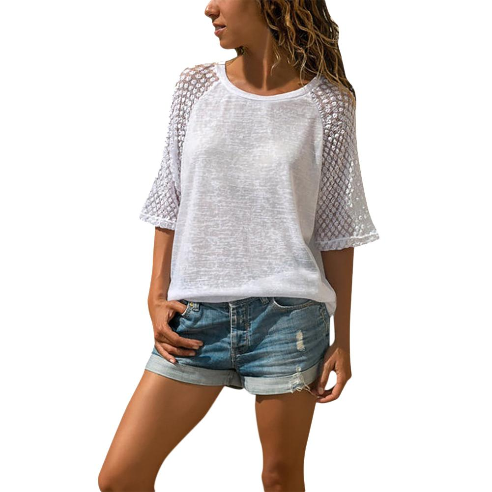 2019 New Yfashion Women Lace Splicing Round Color Three Quarter Sleeve Casual T-shirt