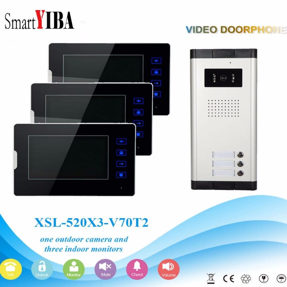 "SmartYIBA 3 Units Apartment Intercom System Video Door Phone Door Intercom Aluminum Alloy Camera 7""Inch Monitor Video Doorbell"