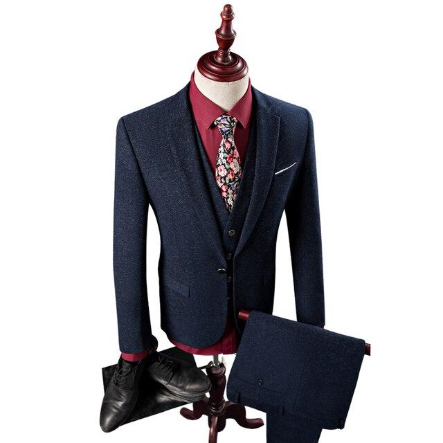 2016 Spring Men Suits For Wedding(Jacket+Vest+Pant) Good Quality Dot Print Mens Formal Suit Plus Size 4XL